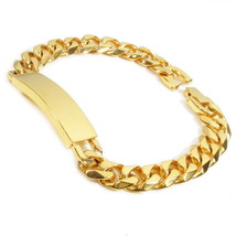 "Stainless Steel Faceted Gold Color Curb Chain Polish ID Bracelet 11mm 8.5"" - $18.00"