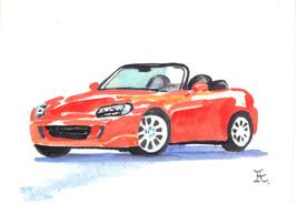 Akimova: RED CAR, still life, watercolor, ACEO - $4.50