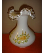 Fenton Hand Painted Yellow Roses On Silver Crest Vase Made For Sears - $81.99