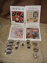 Cross Stitch Patterns 4 Artists Collection Brochures And 12 Tart Tins - $26.99