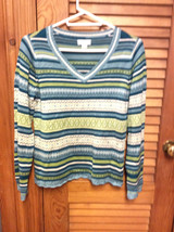 Christopher & Banks Blue Stripe Pullover V-Neck Beaded Sweater - Large -EUC - $9.99