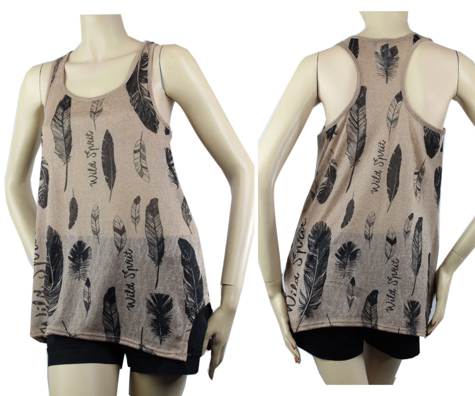 Sexy Racer Back Feather Print Layering Tank Top Stretchy Comfy Casual Shirts SML
