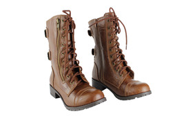 Soda Dome-Sa Womens Riding Boots 2 Buckles Zipper Low Heel Round Toe Shoes Tan - $32.99