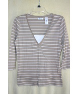 Liz & Co. Beige 3/4 Sleeve Lightweight Shirt     Juniors  SZ M    NWOT - $4.99
