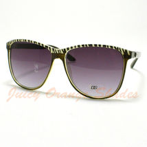Women's RETRO Fashion ROUND DG Eyewear Sunglasses YELLOW ZEBRA Top New - £4.93 GBP