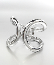 CHIC UNIQUE Silver Metal Open Loop Hinged Wide Cuff Bracelet - $18.99