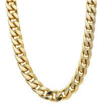 """SOLID BRASS BIG 13mm CUBAN CURB GOURMETTE YELLOW CHAIN, NECKLACE 50cm, 20"""" image 1"""