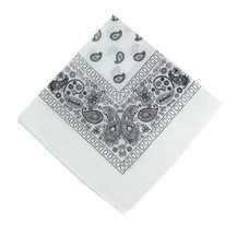 NEW MEN'S 12 PACK COTTON PAISLEY HEAD WRAP SCARF WRISTBAND BANDANA WHITE