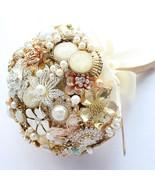 Gold vintage metallic bridal bouquet, golden wedding brooch bouquet, Ivo... - $268.00