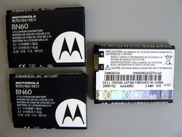 (Lot of 3) Motorola BN60 Batteries For HINTQA30 Rapture VU30 VU204 ZN4 H... - $6.44