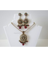 KUNDAN PENDANT SET (GREEN & RED) - $18.99