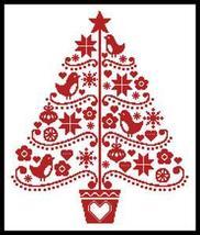 Folk Art Christmas Tree #12248 cross stitch chart Artecy Cross Stitch Chart - $7.20