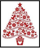 Folk Art Christmas Tree #12248 cross stitch chart Artecy Cross Stitch Chart - $7.20