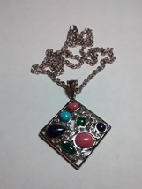 beautiful multi-gemstone pendant in stainless steel - $49.95