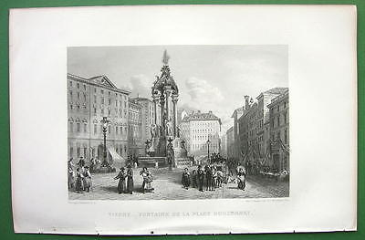 AUSTRIA Vienna Fountain in Hohemarkt Square !! Antique Print