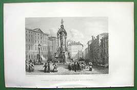 AUSTRIA Vienna Fountain in Hohemarkt Square !! Antique Print - $25.20