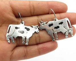 MEXICO 925 Silver - Vintage Black Onyx Spotted Cow Dangle Earrings - E7536 - $56.57