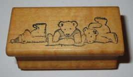 Teddy Bears Rubber Stamp Bear Trio Retro All Night Media Vintage Wood Mounted  - $7.91