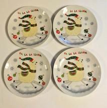 """Llama's Llama Christmas Ceramic Tidbit Appetizer Plates 6"""" Set of 4 - $838,89 MXN"""
