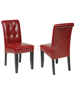Crimson Red ECO Leather Dining Table Parsons Chair w/Tufted Button Back  - $89.99
