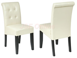 Cream ECO Leather Dining Table Parsons Chair w/Tufted Button Back MET88CM - $89.99