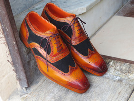 Handmade Men's Brown Leather & Black Suede Wing Tip Brogues Oxford Shoes image 1
