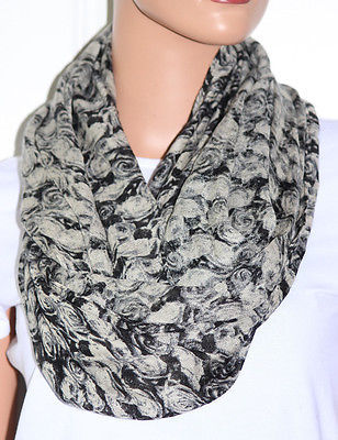 Primary image for NWT Echo Floral Pattern Print Black/Grey Infinity Loop Scarf 705300 36x28