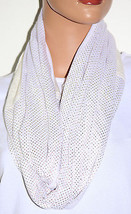 NWT Echo Mini Studded Pattern White Infinity Loop Scarf 707132 36x20 - $5.73