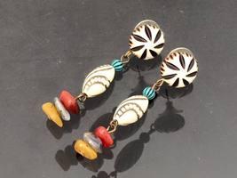 Vintage Jewelry Lucite Bead & Mixed Gemstones Earrings  - $6.50