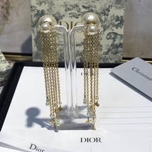 NEW AUTH Christian Dior 2020 DOUBLE PEARL EARRINGS GOLD DANGLE MULTI STRAND image 6