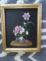 vtg SIGNED Asian JAPANESE Bamboo Framed Oil PAINTING Ikebana Still life - $41.58