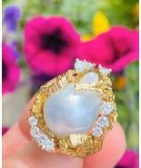 Vintage Heavy 1960s Retro 18k Gold Freeform Turquiose Pearl Diamond Ring - $2,470.05