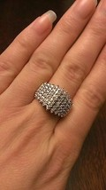 1.00 CT DIAMOND WATERFALL CLUSTER RING - 10K GOLD - 7 GRAMS - SIZE 7 - £370.82 GBP