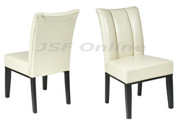 Cream ECO Leather Computer Desk Dining Table Parsons Chair w/Pleated Back  - $108.00