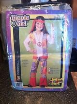 Hippie Girl Flower Child Halloween Costume L Brand New + Glass Peace Necklace - $22.99