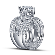 Jewelry White Simulated Diamond Solid .925 Silver Wedding Trio Ring Set Gift - $152.99