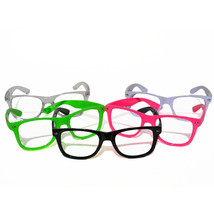GloFX BLACK Nerd Frame Glasses - No Lenses - True Flex PVC Frame Cool Rave - $5.49