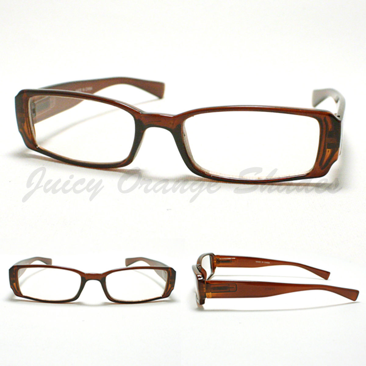 SMALL RECTANGULAR Eyeglass Frames BROWN SIMPLE CLASSIC CASUAL NARROW Design