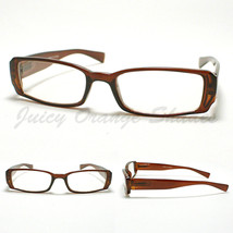 SMALL RECTANGULAR Eyeglass Frames BROWN SIMPLE CLASSIC CASUAL NARROW Design - $9.85