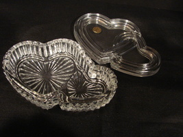 Cristal d' Arques France Double Hearts Crystal 6 ½ inch Trinket Box Lidded - $17.99