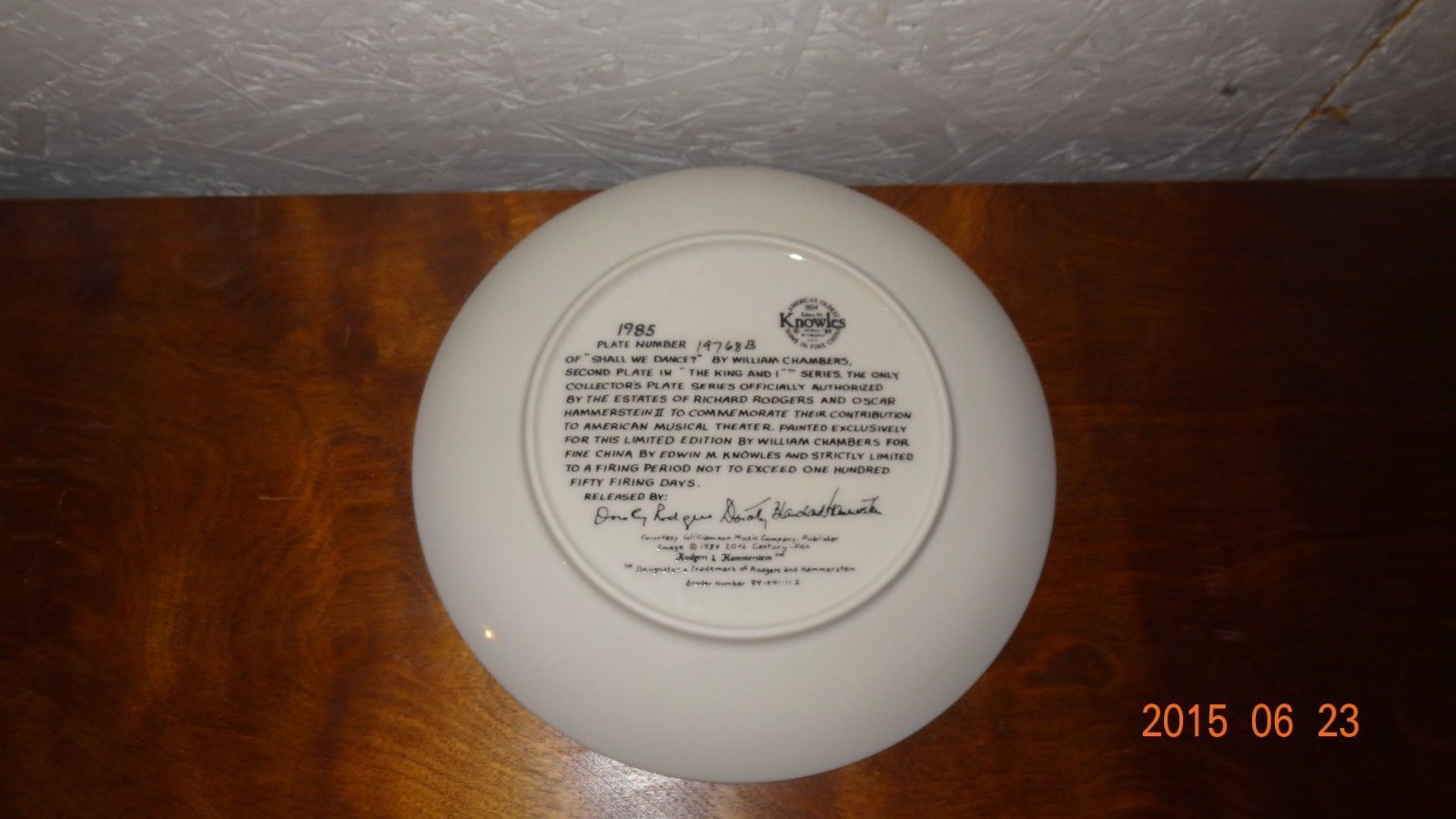 "The King and I "" Shall We Dance"" Knowles 1985 Collector's Plate Musical"