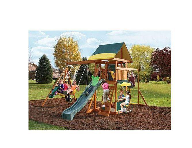 swing set kids playground slide outdoor backyard fort playset swingset