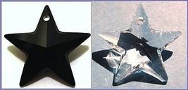 4 Authentic SWAROVSKI  STAR CRYSTALs ~ 2 Jet BLACK + 2 CLEAR ~ PENDANTS ... - $10.76