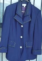 Vintage D'Orna Suit Coat Jacket Blazer Rhinestone Buttons Royal Blue siz... - $29.95