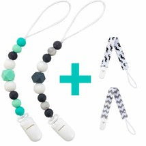 Silicone Pacifier Clip for Baby Boys & Girls 4 Pack Paci Clips Teething ... - $9.89