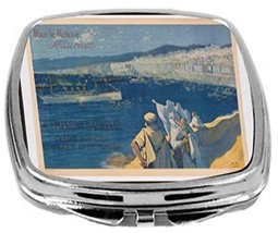 Rikki Knight Vintage Poster Art Compact Mirror Algeria to Tunisia Design... - $12.00