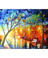 "Leonid Afremov-""Shiny Path""-Original Oil Painting/Canvas/Hand Signed/COA... - $1,800.25"