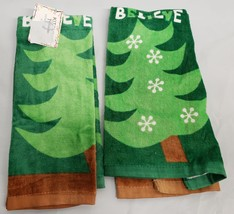 "2 Same Printed Kitchen Towels (15"" X 25"") Winter, Christmas Tree On Green, Am - $11.87"