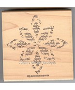 My Sentiments Exactly Rubber Stamp V-159 Large Snowflake, Winter ( NEW )... - $14.50