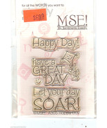 MSE Acrylic Stamp A-305 Happy Day Sentiments Set, New S9 - $6.90